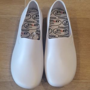Sticky Shoes White Nursing Shoes
